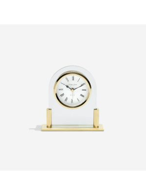 Glass Arch Top Mantel Clock with Gold Highlights | 17124